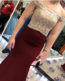 Sexy Gold Beaded Maroon Mermaid Long Cheap Evening Prom Dresses, 17487