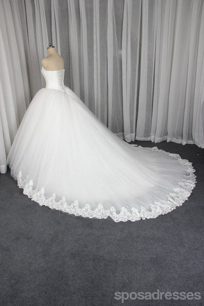 Strapless A line Tulle Wedding Dresses,  2018 Lace Custom Wedding Gowns, 18004