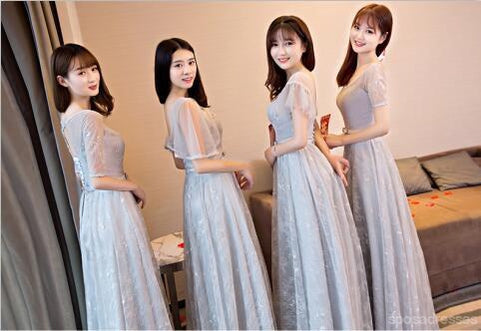 Gray Lace Short Sleeve Long Bridesmaid Dresses, Mismatched Custom Long Bridesmaid Dresses, Cheap Bridesmaid Gowns, BD0001