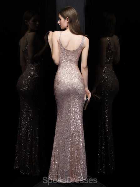Sexy Mermaid  V Neck Champagne Gold Long Evening Prom Dresses, Evening Party Prom Dresses, 12319