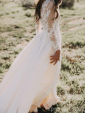 Long Sleeves Lace Beach Cheap Wedding Dresses Online, Cheap Lace Bridal Dresses, WD461