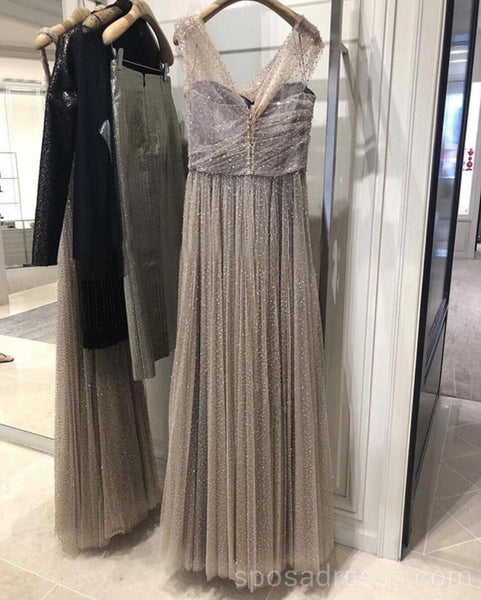 Off Shoulder Sparkly Gold A-line Long Evening Prom Dresses, Cheap Custom Sweet 16 Dresses, 18567