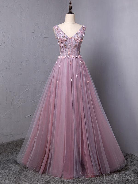 Dusty Purple V Neck A-line Tulle Long Evening Prom Dresses, 17615