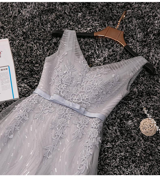 V Neckline Gray Lace Sparkly Evening Prom Dresses, Popular Lace Party Prom Dresses, Custom Long Prom Dresses, Cheap Formal Prom Dresses, 17181
