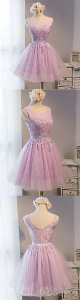 Lovely Lilac Lace Short Homecoming Prom Dresses, Affordable Short Party Prom Sweet 16 Dresses, Perfect Homecoming Cocktail Dresses, CM373