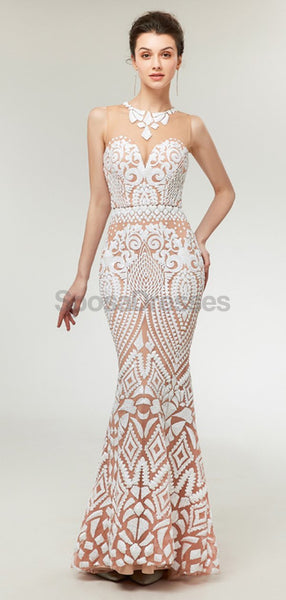 Illusion Lace Mermaid Long Evening Prom Dresses, Evening Party Prom Dresses, 12010