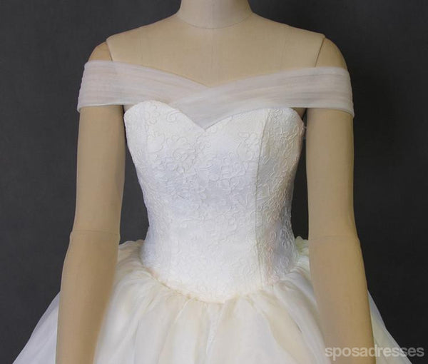 Off Shoulder Organza  A line Long Tail Wedding Dresses, Corset Custom Made Long Wedding Gown, Cheap Wedding Gowns, WD207