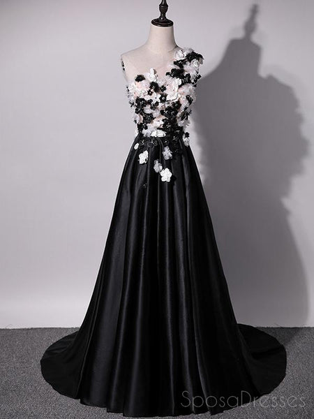 One Shoulder Handmade Flower Black A-line Long Evening Prom Dresses, 17624