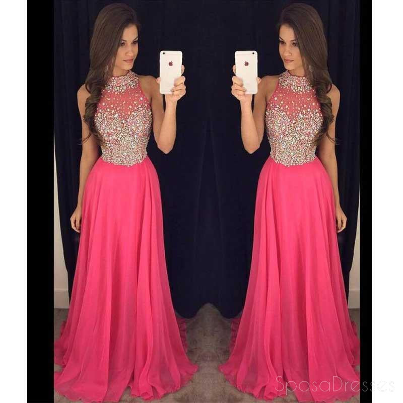 hot pink halter evening prom dresses 2017 long beaded prom dress cus sposadresses. Black Bedroom Furniture Sets. Home Design Ideas