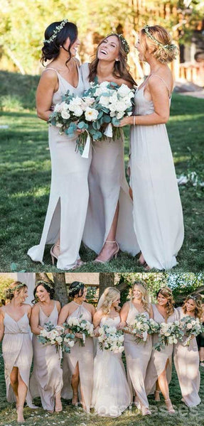 Simple Cheap Chiffon Spaghetti Strap Side Split Long Bridesmaid Dresses for Beach Wedding Party, WG100