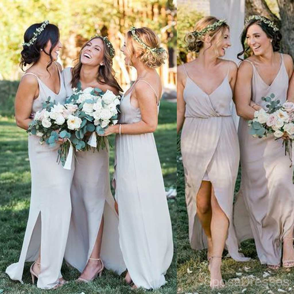 Simple cheap chiffon spaghetti strap side split long bridesmaid simple cheap chiffon spaghetti strap side split long bridesmaid dresses for beach wedding party ombrellifo Image collections