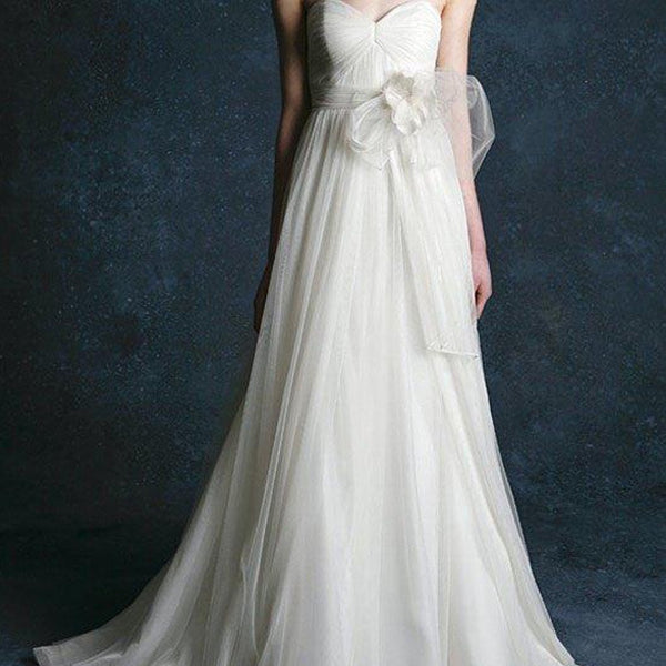 Simple Design Sweetheart Light Ivory Long A-line Chiffon Bridal Gown, Wedding Dress, WD0098