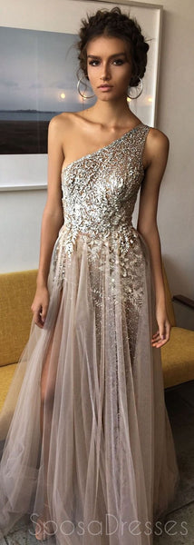 One Shoulder Sexy Side Slit Heavily Beaded Sparkly Long Evening Prom Dresses, 17270