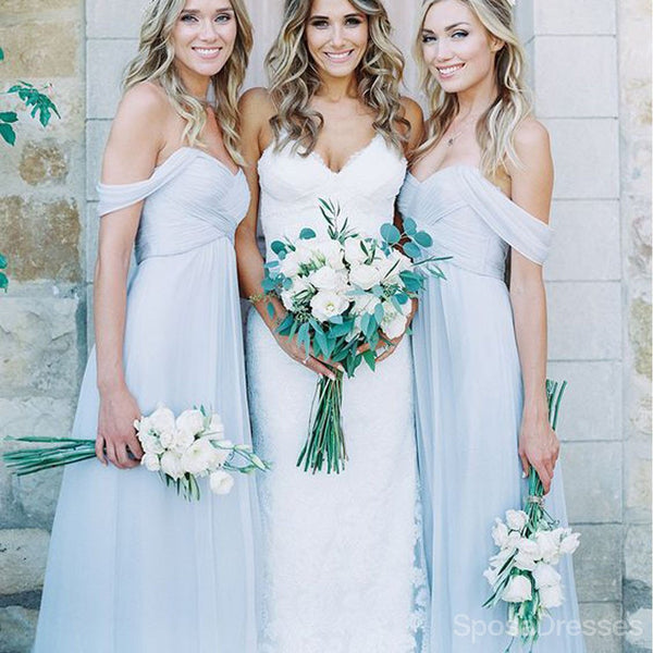 Chiffon Light Blue Sexy A Line Floor-Length Cheap Bridesmaid Dresses, WG104