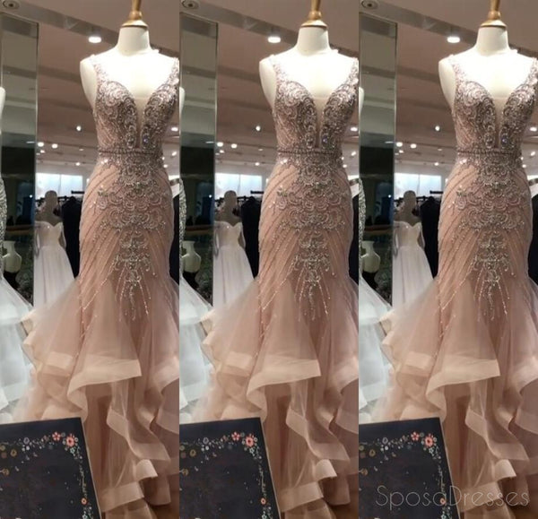 Sexy Mermaid Delicate Beading Deep V Neckline Long Evening Prom Dresses, Popular Cheap Long 2018 Party Prom Dresses, 17284