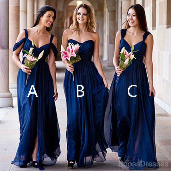 c37607ba5f Mismatched Different Styles Chiffon Royal Blue Cheap Pleating Formal Long  Wedding Party Bridesmaid Dresses, WG105