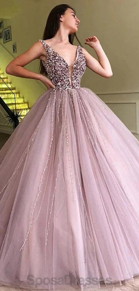 Dusty Purple V Neck Heavily Beaded Cheap Evening Prom Dresses, Evening Party Prom Dresses, 12172