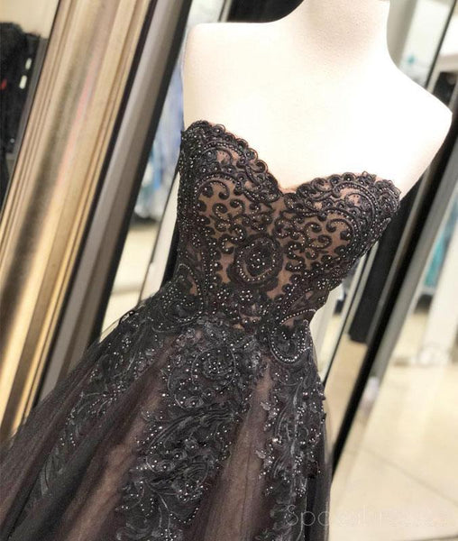 Sweetheart Black Lace Beaded A-line Long Evening Prom Dresses, Cheap Sweet 16 Dresses, 18430