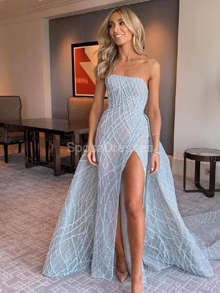 Blue Strapless Side Slit Sexy Blue Long Evening Prom Dresses, Evening Party Prom Dresses, 12245