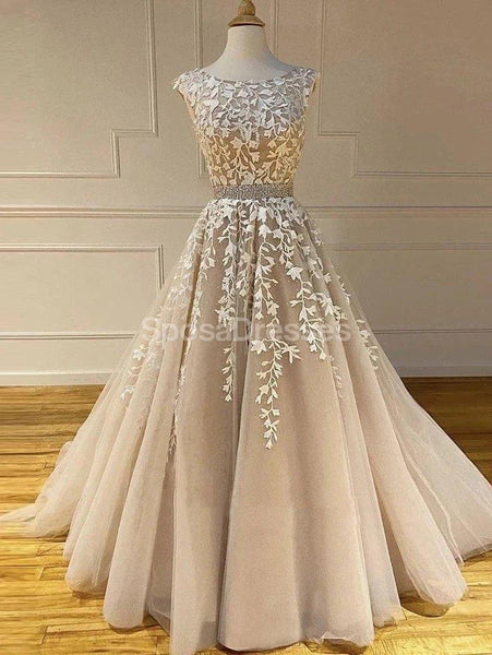 Cap Sleeves Lace Applique A-line Evening Prom Dresses, Evening Party Prom Dresses, 12274