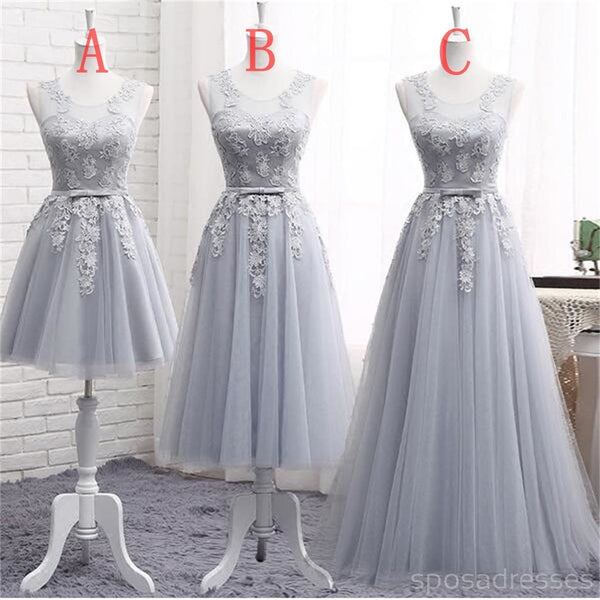 Gray Lace A line Long Bridesmaid Dresses, Cheap Custom Long Bridesmaid Dresses, Affordable Bridesmaid Gowns, BD019