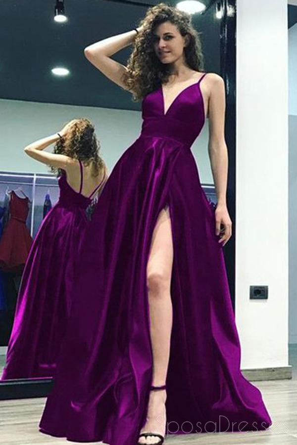 Sexy Side Slit Backless Spaghetti Straps A-line Long Evening Prom Dresses, 17693