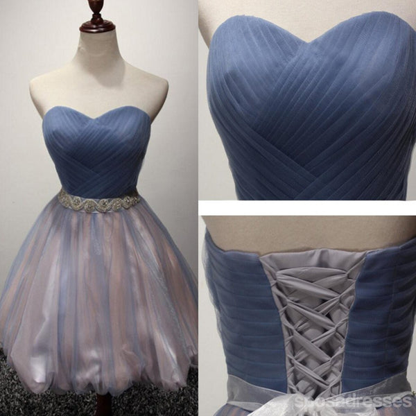 Strapless Sweetheart Tulle Cute Homecoming Prom Dresses, Affordable Short Party Prom Sweet 16 Dresses, Perfect Homecoming Cocktail Dresses, CM334