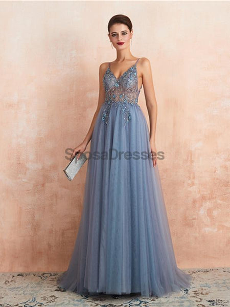 Spaghetti Straps See Through Beaded A-line Long Evening Prom Dresses, Evening Party Prom Dresses, 12135