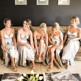 Silver Grey Side Slit Mermaid Cheap Long Bridesmaid Dresses Online, WG209