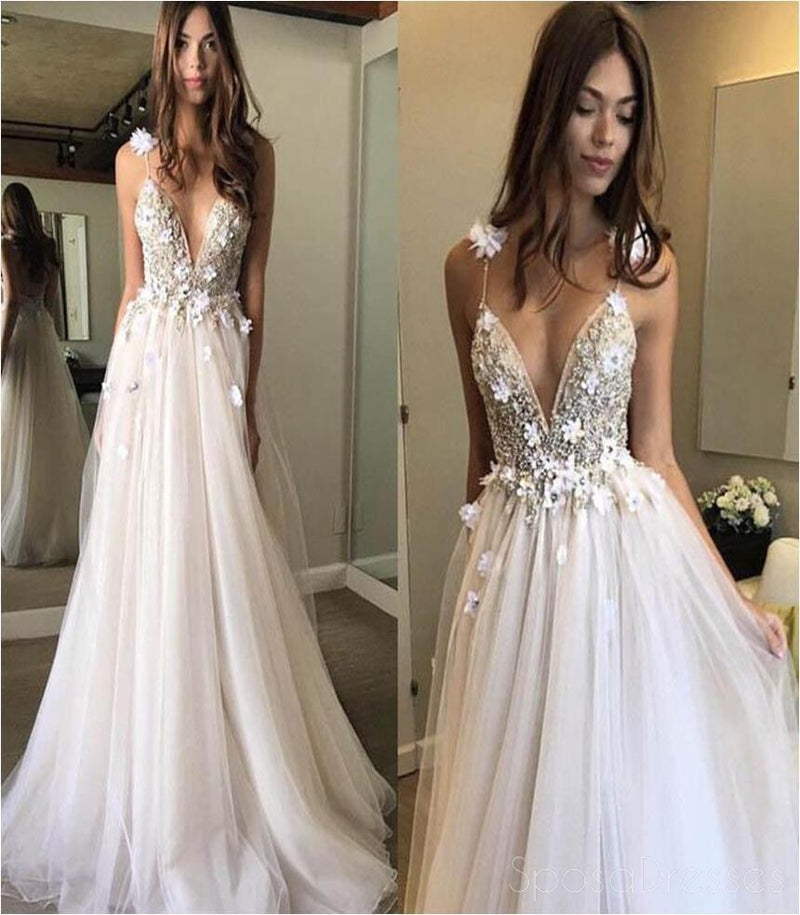 Sexy Deep V Neckline Lace Beaded A line Long Evening Prom Dresses, Popular Cheap Long Custom Party Prom Dresses, 17330