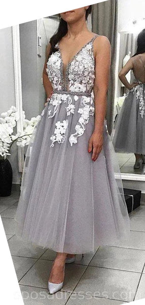 V-neck Grey Lace Cheap Homecoming Dresses Online, Cheap Short Prom Dresses, CM747