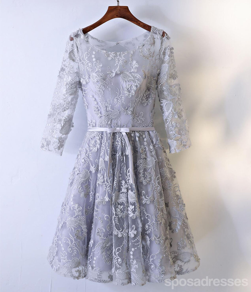 3ce7e5be6bf 2017 Long Sleeve Gray Lace Round Neckline Homecoming Prom Dresses ...