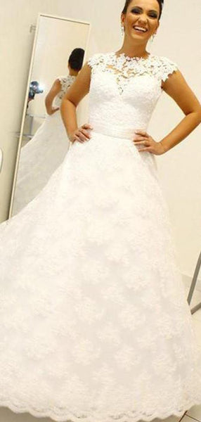 Lace See Through Detachable Skirt A-line Cheap Wedding Dresses Online, WD412