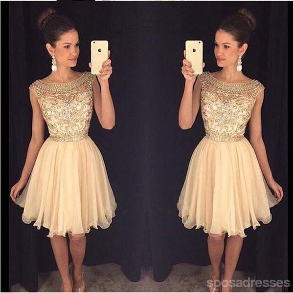 Champagne beaded See through Sexy homecoming prom dresses, CM0011