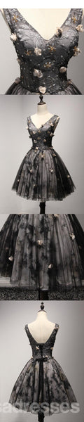 V Neckline Short Black Lace Homecoming Prom Dresses,  Little Back Dress,  CM205
