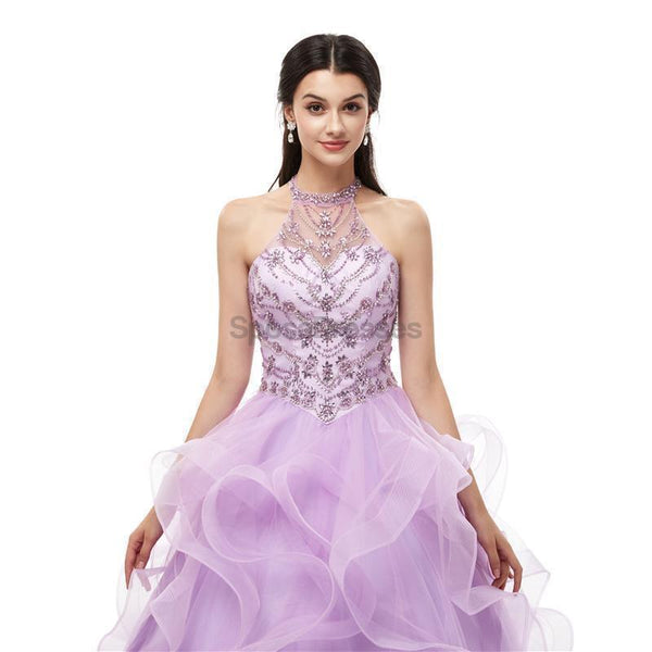 Halter Lilac Heavy Beaded Quinceanera Dresses, Evening Party Prom Dresses, 12101