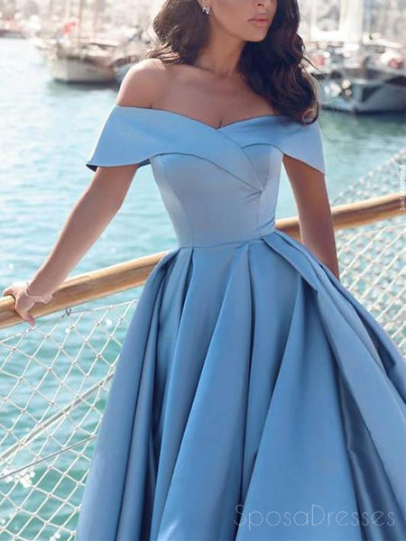 Blue Off Shoulder A line Simple Long Evening Prom Dresses, Cheap Custom Party Prom Dresses, 17325