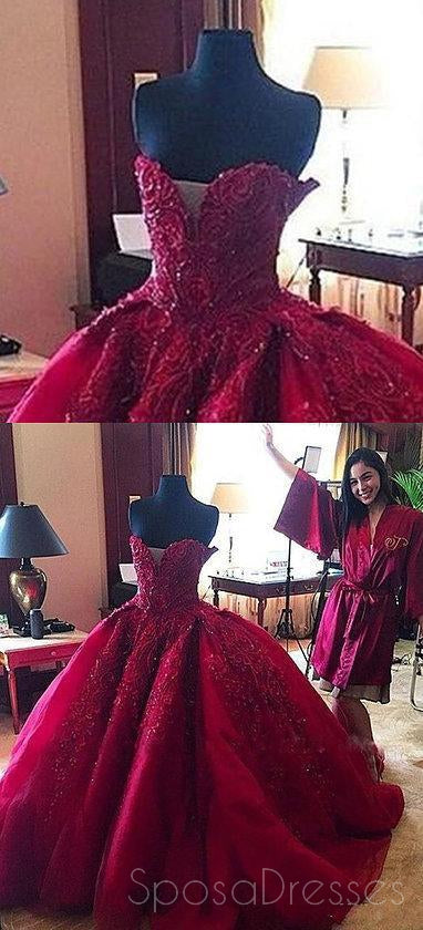 Dark Red Sweetheart Neck Lace Beaded Ball Gown Long Custom Evening ...