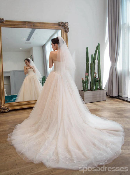 Strapless Simple Tulle A line Long Tail Wedding Dresses, Custom Made Long Wedding Dresses, Cheap Wedding Gowns, WD208