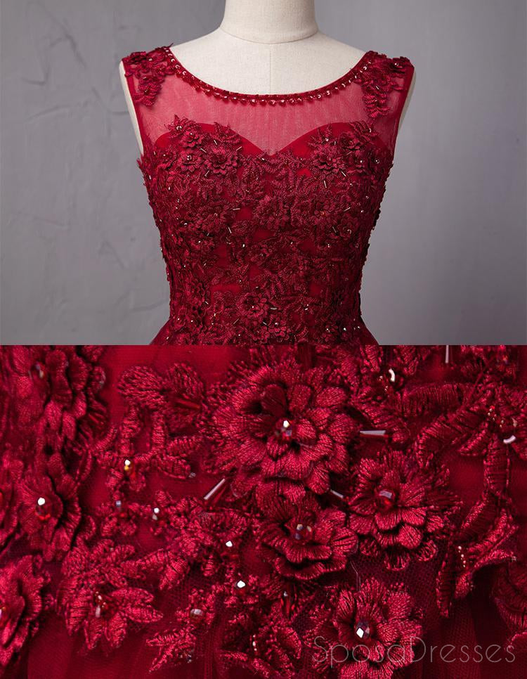 Open Back Dark Red Lace Beaded A-line Long Evening Prom Dresses, 17625