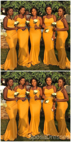 Spaghetti Straps Yellow Mermaid Cheap Long  Bridesmaid Dresses Online, WG645