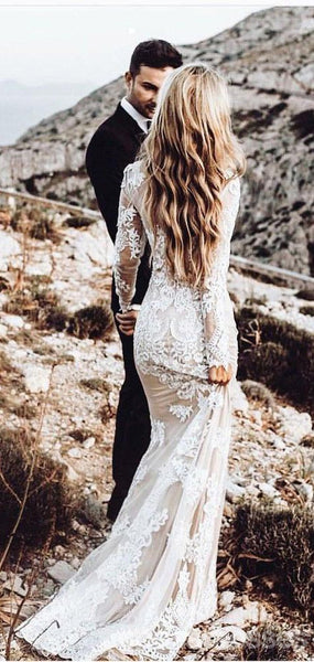 Long Sleeves Lace Mermaid Wedding Dresses Online, Cheap Beach Bridal Dresses, WD475