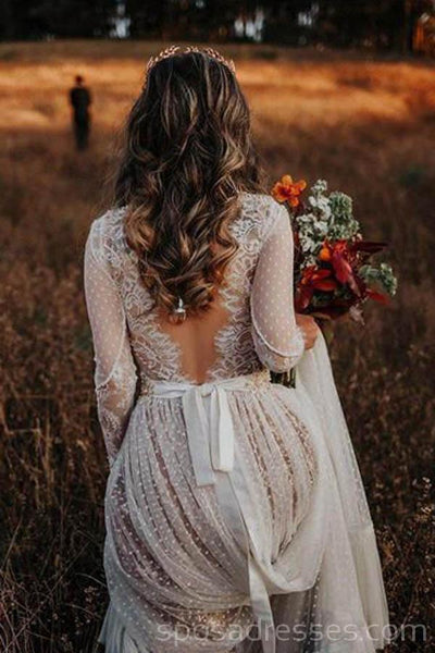 Long Sleeves Backless Lace Cheap Wedding Dresses Online, Cheap Bridal Dresses, WD528