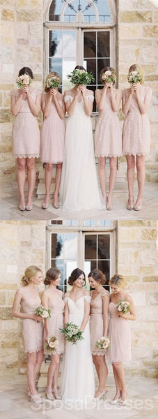 Mismatched Junior Pretty Short Lace Knee-Length Blush Pink Bridesmaid Dress, WG115