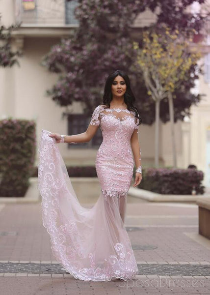 Long Sleeve Pink Lace Mermaid Evening Prom Dresses, Sexy See Through Party Prom Dress, Custom Long Prom Dresses, Cheap Formal Prom Dresses, 17042