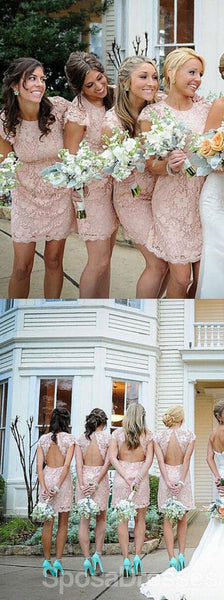 Fashion Cap Sleeve Open Back Small Round Neck Blush Pink Bridesmaid Dresses, WG116