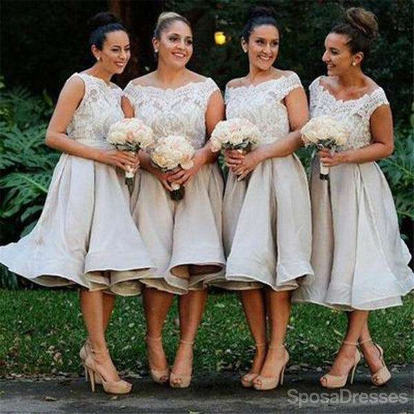 Morden Cap Sleeve Lace Organza Knee-Length On Sale Short Affordable Bridesmaid Dresses Ball Gown, WG117