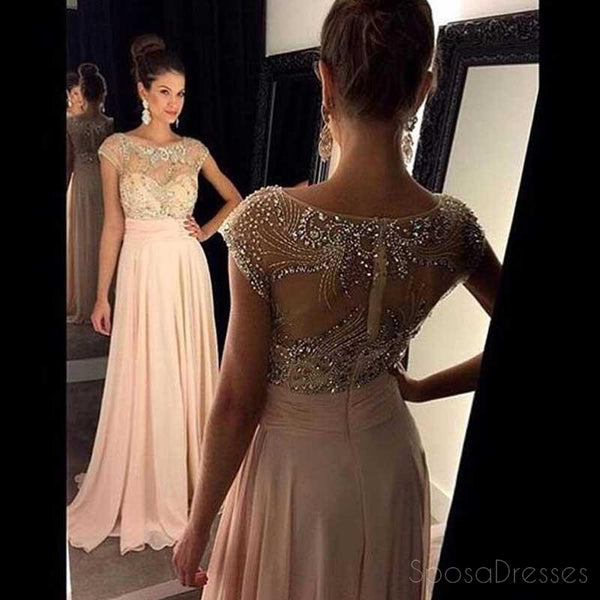 Blush Pink Cap Sleeve Beaded Long Evening Prom Dresses, Sexy See Through Party Prom Dress, Custom Long Prom Dresses, Cheap Formal Prom Dresses, 17043