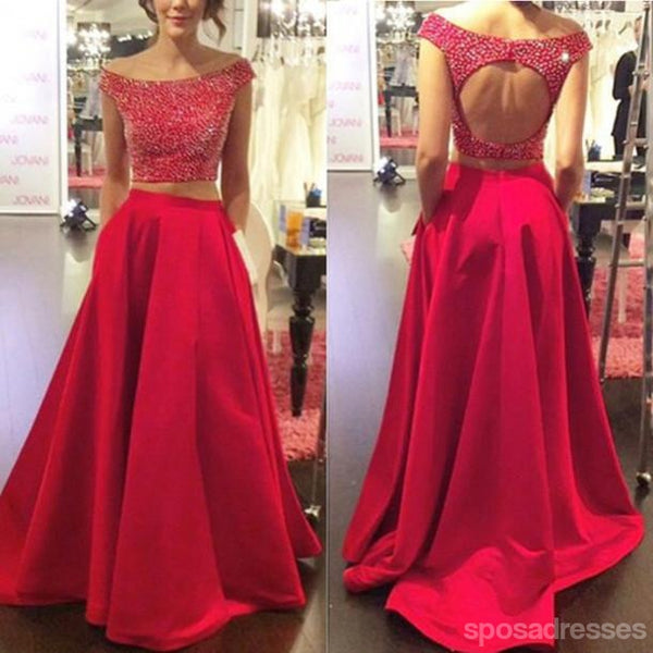 Two Pieces Backless Red Long Prom Dresses, Sexy Evening Prom Dress, Beaded Evening Prom Dress, Dresses For Prom, Custom Prom Dresses 2017, 17011