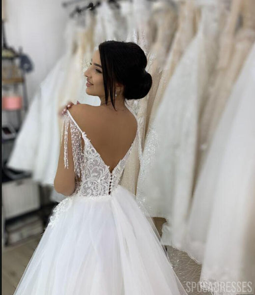 Sexy Low Back V Neck Cheap Wedding Dresses Online, Cheap Bridal Dresses, WD651